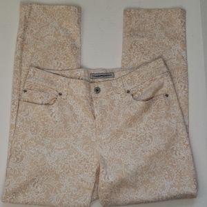 Chico's Cream & White Floral Design Jeans